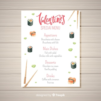 Szablon menu valentine akwarela akwarela