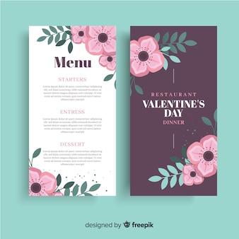 Szablon menu valentine kwiaty