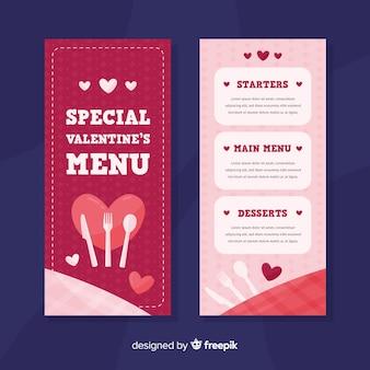 Szablon menu valentine sztućce płaskie