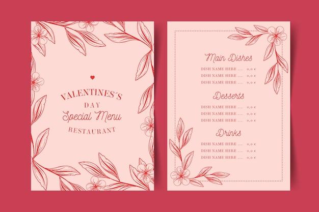 Szablon menu vintage walentynki