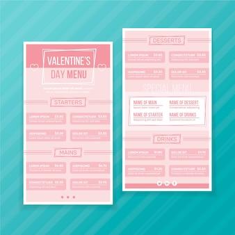 Szablon menu walentynki w płaskiej konstrukcji