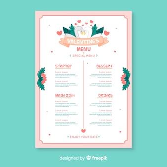 Szablon menu walentynki