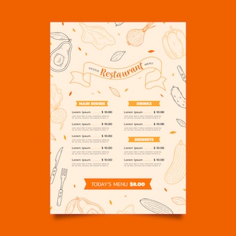 Szablon menu wegetariańskie