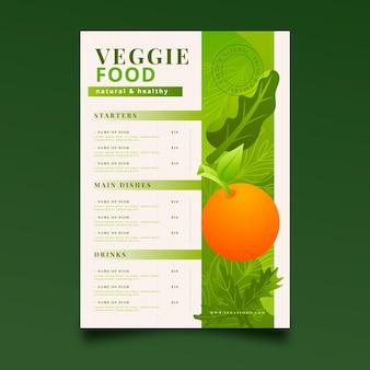 Szablon menu wegetariańskiego z gradientem