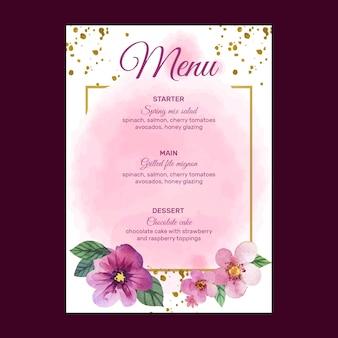 Szablon menu wesele kwiatowy
