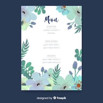Szablon menu wesele natura akwarela