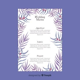 Szablon menu weselnego stylu akwarela