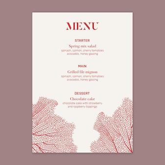 Szablon menu weselnego w minimalistycznym stylu