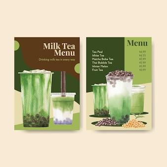 Szablon menu z bąbelkową herbatą mleczną