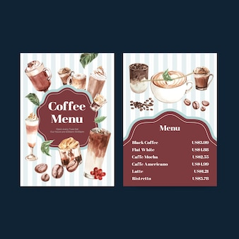 Szablon menu z koncepcją koreańskiego stylu kawy dla restauracji i bistro akwarela