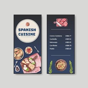 Szablon menu z koncepcją kuchni hiszpańskiej dla bisto i restauracji akwarela ilustracji