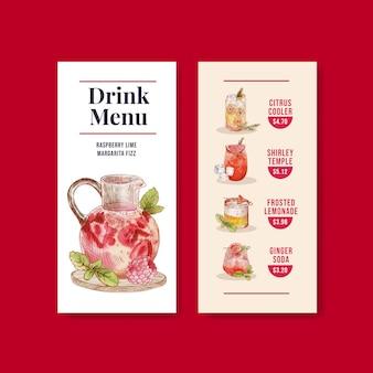 Szablon menu z koncepcją napojów orzeźwiających, styl akwareli