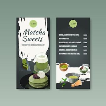 Szablon menu z koncepcją słodyczy matcha, styl przypominający akwarele