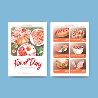 Szablon menu z koncepcją światowego dnia żywności dla akwareli restauracji i sklepu spożywczego