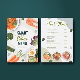 Szablon menu z koncepcją zdrowej żywności, styl akwareli