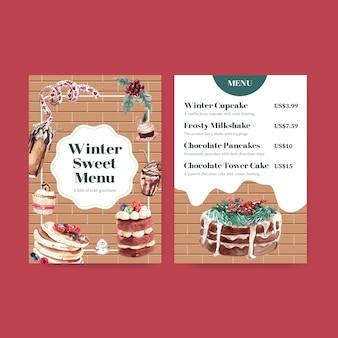 Szablon menu z zimowymi słodyczami w stylu przypominającym akwarele