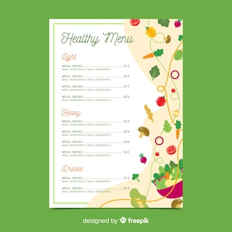 Szablon menu zdrowe warzywa małe