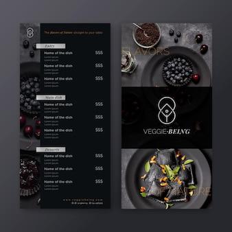 Szablon menu zdrowej restauracji