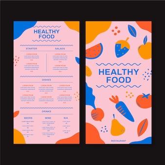 Szablon menu zdrowej żywności