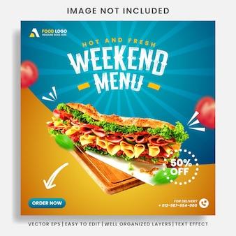 Szablon menu żywności i restauracji w mediach społecznościowych