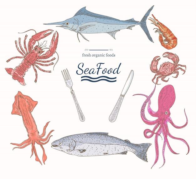 Szablon menu żywności morskiej