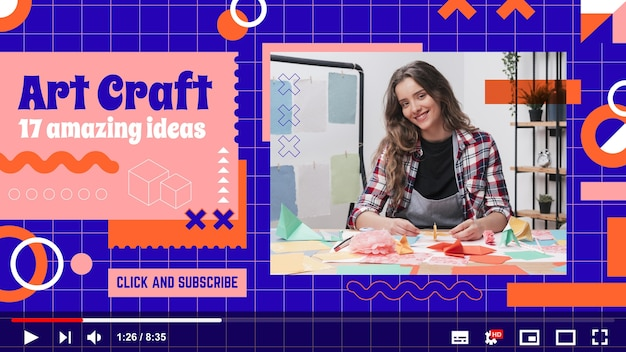 Szablon miniatury youtube z płaskim geometrycznym rzemiosłem