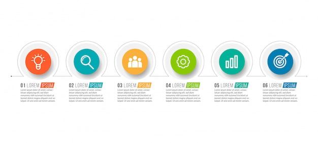 Szablon minimalne infografiki biznesowe z 6 kroków