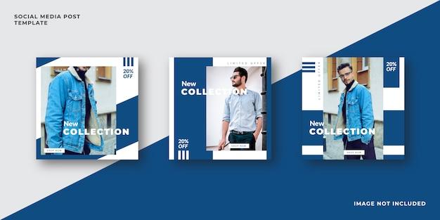 Szablon moda niebieski media społecznościowe post