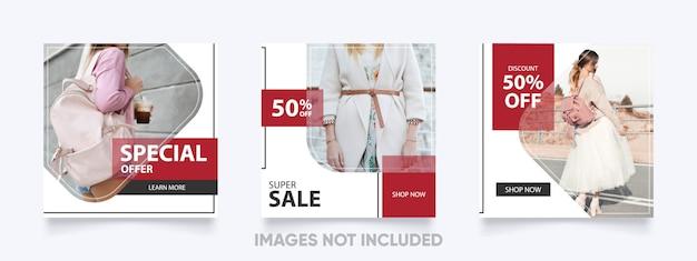 Szablon moda post na instagram w kolorze czerwonym, białym