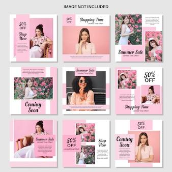 Szablon moda różowy media społecznościowe post
