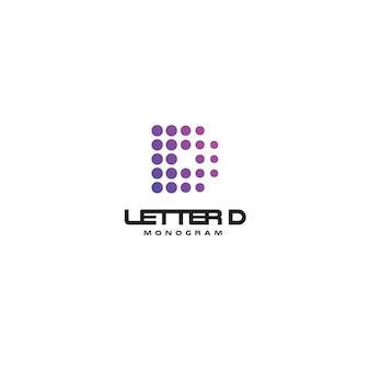 Szablon monogramu wektor litera d dla cyfrowego startowego logo kropkowane emblemat dla firm