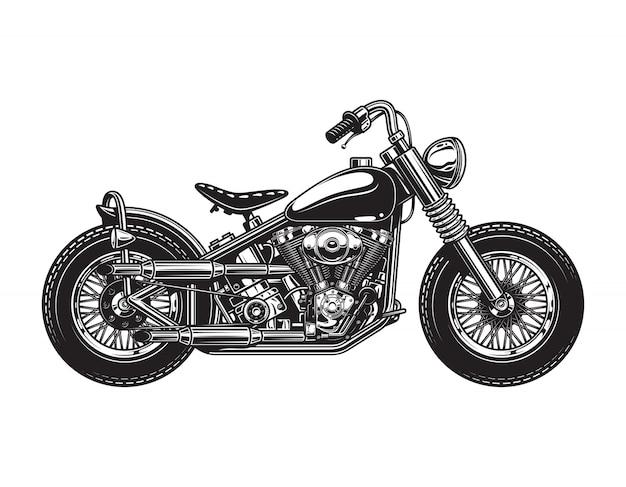 Szablon motocykl widok z boku rocznika chopper