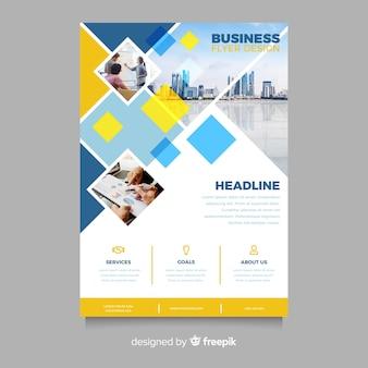 Szablon mozaiki biznesowych ulotki ze zdjęciem