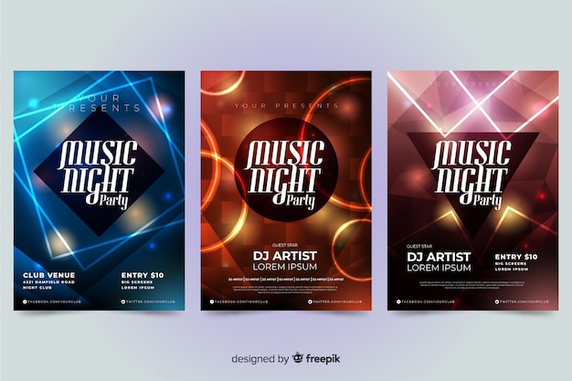 Szablon muzyki abstrakcyjnej plakat z efektem świetlnym