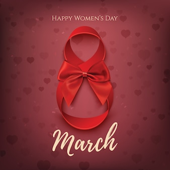 Szablon na 8 marca z czerwoną wstążką i kokardą. tło dzień kobiet.