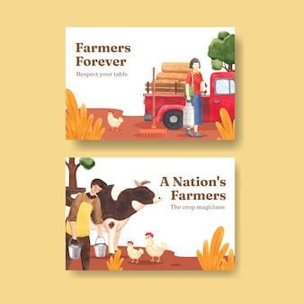 Szablon na facebook z koncepcją krajowego dnia rolników, styl akwareli