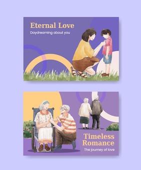 Szablon na facebooka z koncepcją rajskiej miłości dla mediów społecznościowych i marketingowej ilustracji akwareli online