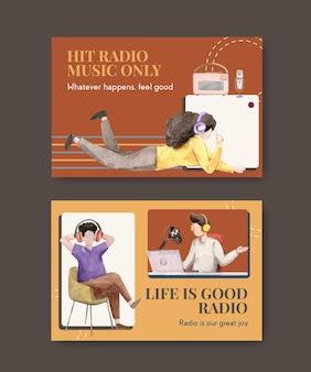 Szablon na facebooku ze światowym dniem radia dla mediów społecznościowych i ilustracji akwareli społeczności