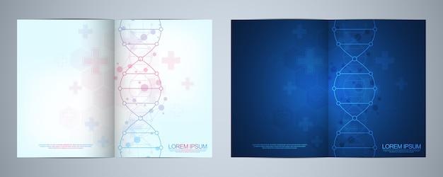 Szablon na okładkę lub broszurę, z tłem cząsteczek i nicią dna. koncepcja medyczna lub naukowa i technologiczna.