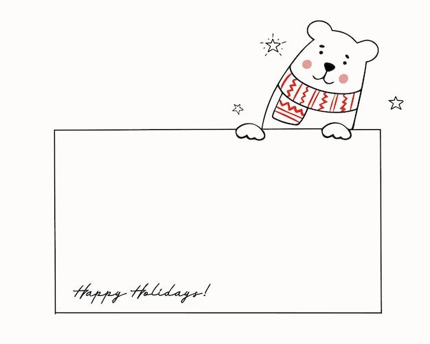 Szablon na świąteczne życzenia z uroczym misiem w dzianinowym szaliku