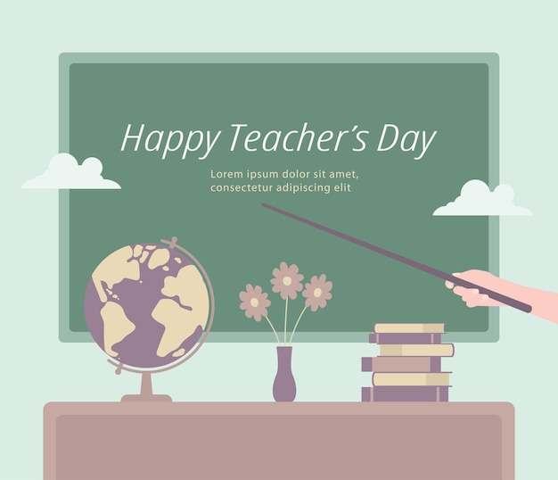 Szablon na szczęśliwy dzień nauczyciela gest ręki ze wskaźnikiem wskazującym na gratulacje