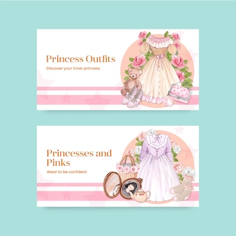 Szablon na twittera ze strojem księżniczki, styl akwareli