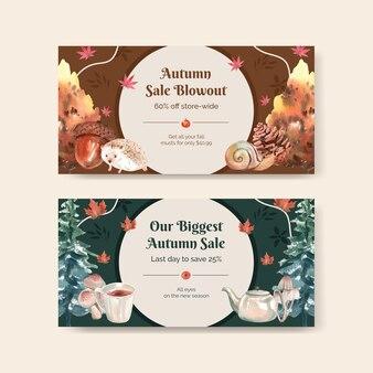 Szablon na twitterze st z jesienną koncepcją kempingową, styl akwareli