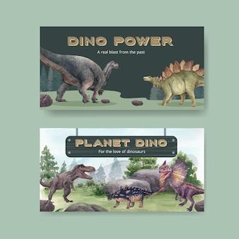 Szablon na twitterze z koncepcją dinozaura, styl przypominający akwarele
