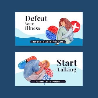 Szablon na twitterze z projektem koncepcyjnym światowego dnia zdrowia psychicznego dla mediów społecznościowych i ilustracji wektorowych akwareli społeczności online.