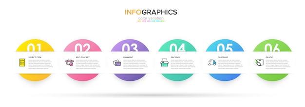 Szablon na zakupy infografiki. sześć opcji lub kroków z ikonami i tekstem.