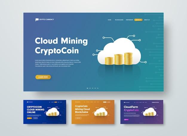 Szablon nagłówka internetowego dla kryptowaluty wydobywającej w chmurze ze stosami złotych monet.