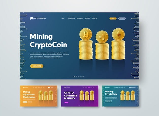 Szablon nagłówka internetowego dla kryptowaluty ze stosami złotych monet bitcoin, ethereum i ripple.