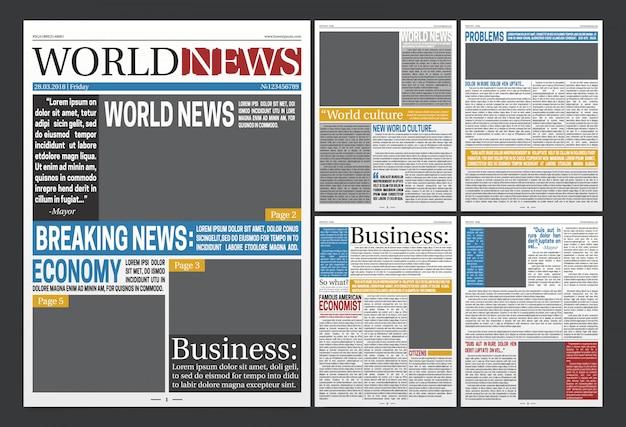 Szablon nagłówków gazet realistyczny plakat