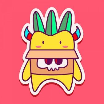 Szablon naklejki ładny potwór doodle